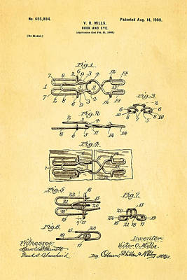 Mills Hook And Eye Patent Art 1900 Poster