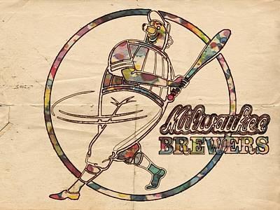 Milwaukee Brewers Vintage Art Poster by Florian Rodarte