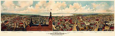 Milwaukee Panorama 1898 Poster by Mountain Dreams