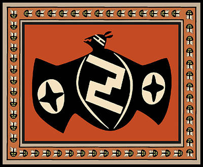Poster featuring the digital art Mimbres Tribal Bat Spirit by Vagabond Folk Art - Virginia Vivier