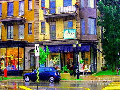 Mimi And Coco Clothing Boutique Laurier In The Rain  Plateau Montreal City Scenes Carole Spandau Art Poster by Carole Spandau