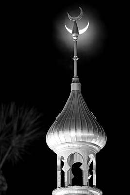 Minaret And Moon Over Tampa Poster by Daniel Woodrum