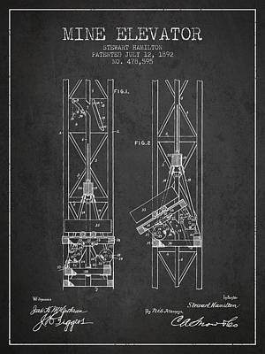 Mine Elevator Patent From 1892 - Charcoal Poster by Aged Pixel