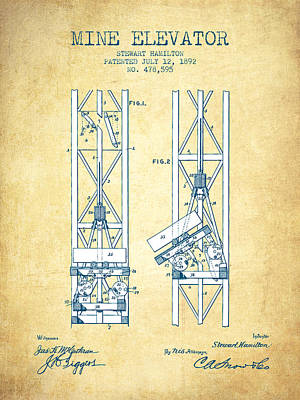Mine Elevator Patent From 1892 - Vintage Paper Poster by Aged Pixel
