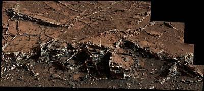Mineral Veins On Mars Poster by Nasa/jpl-caltech/msss