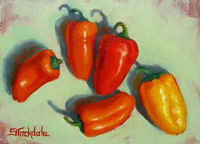 Poster featuring the painting Mini Peppers Study 1 by Margaret Stockdale