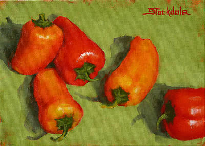 Poster featuring the painting Mini Peppers Study 2 by Margaret Stockdale