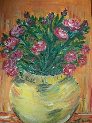 Poster featuring the painting Mini Roses by Teresa White