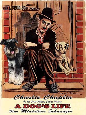 Miniature Schnauzer Art Canvas Print - A Dogs Life Movie Poster Poster by Sandra Sij