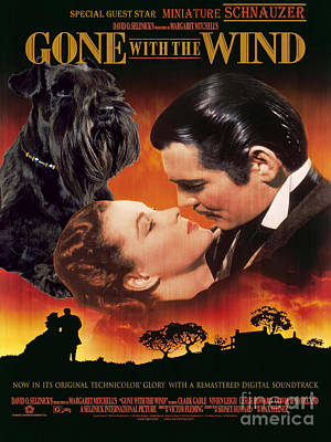 Miniature Schnauzer Art Canvas Print - Gone With The Wind Movie Poster Poster by Sandra Sij