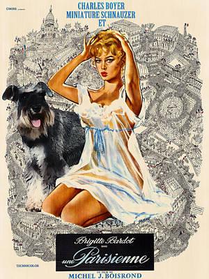 Miniature Schnauzer Art Canvas Print - Una Parisienne Movie Poster Poster by Sandra Sij