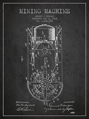 Mining Machine Patent From 1914- Charcoal Poster by Aged Pixel