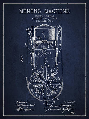 Mining Machine Patent From 1914- Navy Blue Poster by Aged Pixel