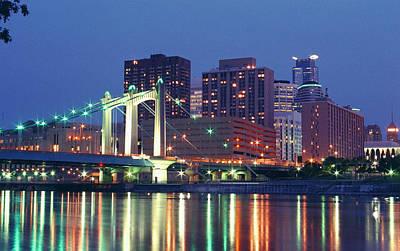 Minneapolis Skyline At Night Poster by Heidi Hermes