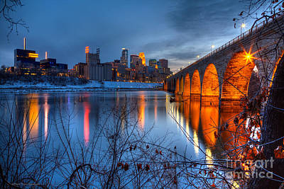 Minneapolis Skyline Images Stone Arch Bridge Spring Evening Poster by Wayne Moran