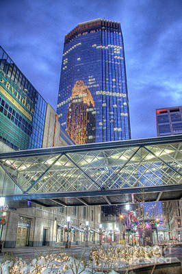 Minneapolis Skyline Photography Nicollet Mall Winter Evening Poster