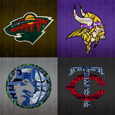 Minneapolis Sports Fan Recycled Vintage Minnesota License Plate Art Wild Vikings Timberwolves Twins Poster by Design Turnpike