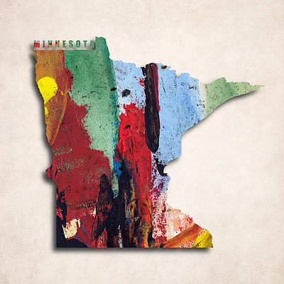 Minnesota Map Art - Painted Map Of Minnesota Poster by World Art Prints And Designs