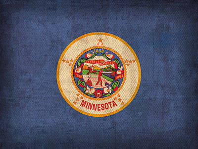 Minnesota State Flag Art On Worn Canvas Poster
