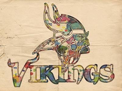Minnesota Vikings Logo Art Poster by Florian Rodarte