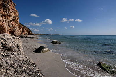 Binigaus Beach In South Coast Of Minorca With A Turquoise Crystalline Water - Paradise In Blue Poster by Pedro Cardona