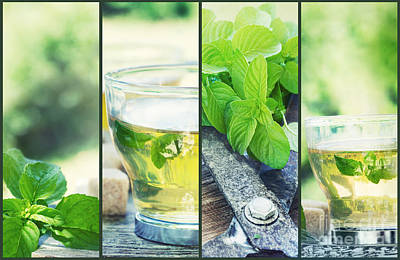 Mint Tea Collage Poster