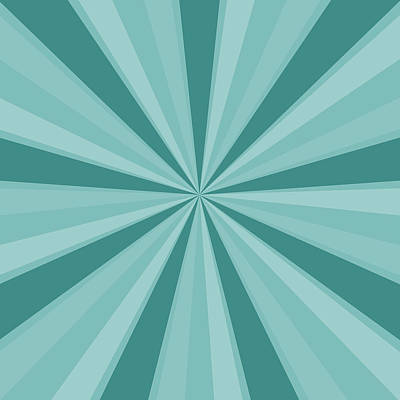 Mint Teal Sun Burst Poster by P S