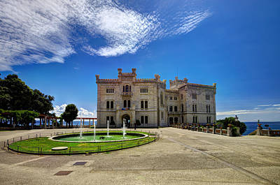 Miramare Castle With Fountain Poster