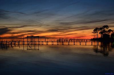Mirrored Sunset Colors On Santa Rosa Sound Poster by Jeff at JSJ Photography