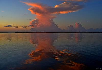 Mirrored Thunderstorm Over Navarre Beach At Sunrise On Sound Poster