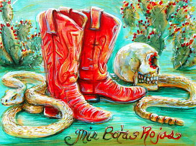 Mis Botas Rojas Poster by Heather Calderon