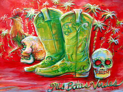 Mis Botas Verdes Poster by Heather Calderon