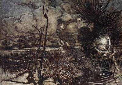 Mislead Night-wanderers, Laughing Poster by Arthur Rackham