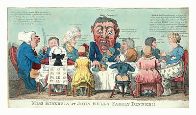 Miss Hibernia At John Bulls Family Dinner, Cruikshank Poster by English School