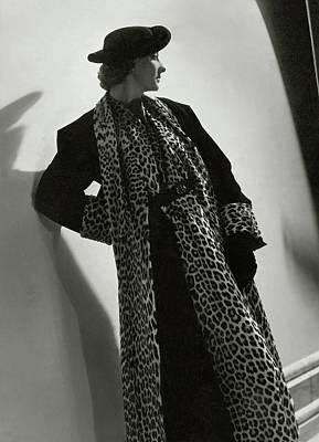 Miss Sheldon Modeling A Leopard Print Coat Poster by Horst P. Horst