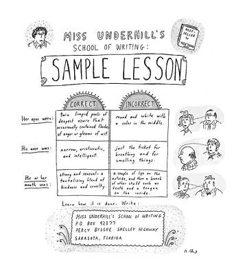 Miss Underhill's School Of Writing Sample Lesson Poster by Roz Chast