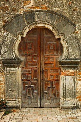 Poster featuring the photograph Mission Espada Door  by Olivia Hardwicke