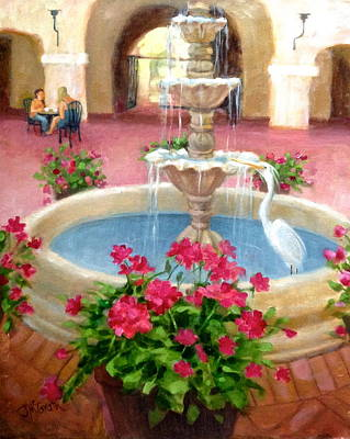 Mission Inn Fountain Poster by Janet McGrath