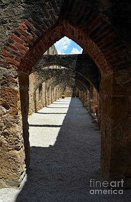 Mission San Jose Arched Promenade Walkway In San Antonio Missions National Historical Park Vertical Poster by Shawn O'Brien