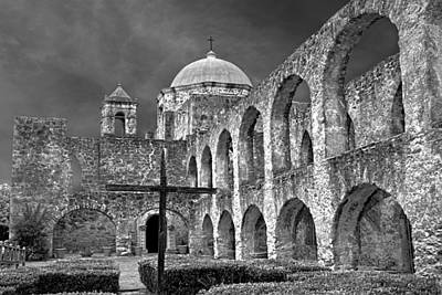 Poster featuring the photograph Mission San Jose Arches Bw by Jemmy Archer