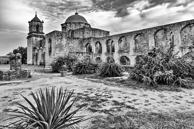 Mission San Jose Black And White San Antonio Texas Poster