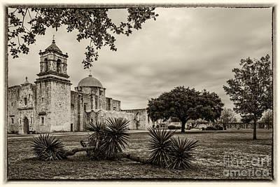 Mission San Jose In Vintage Yellowed Tint - San Antonio Missions Texas Poster by Silvio Ligutti