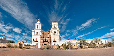 Poster featuring the photograph Mission San Xavier Del Bac Panorama by Dan McManus