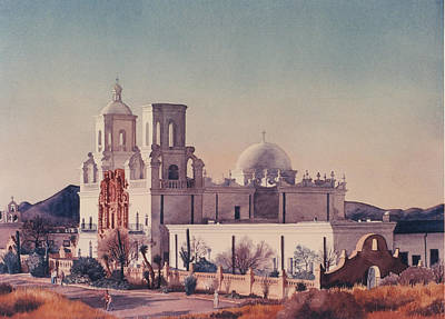 Mission San Xavier Del Bac Tucson Poster by Mary Helmreich