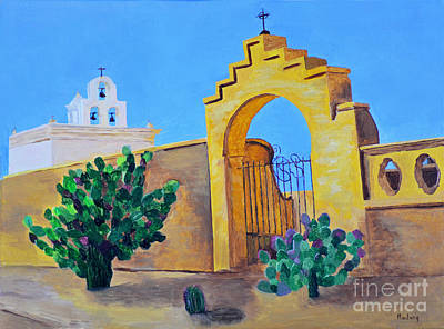 Poster featuring the painting Mission San Xavier by Rodney Campbell