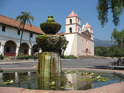 Mission Santa Barbara And Fountain Poster