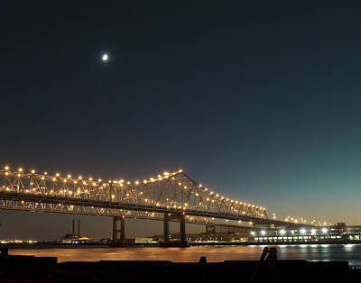 Poster featuring the photograph Mississippi Bridge Moonlight by Ray Devlin