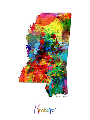 Mississippi Map Poster by Michael Tompsett