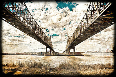 Poster featuring the photograph Mississippi River Bridge Twin Spans by Ray Devlin