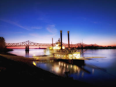 Mississippi River Casino Boat Sunset Poster by Mountain Dreams